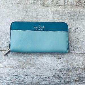 Kate Spade BLUE GREEN color block large wallet